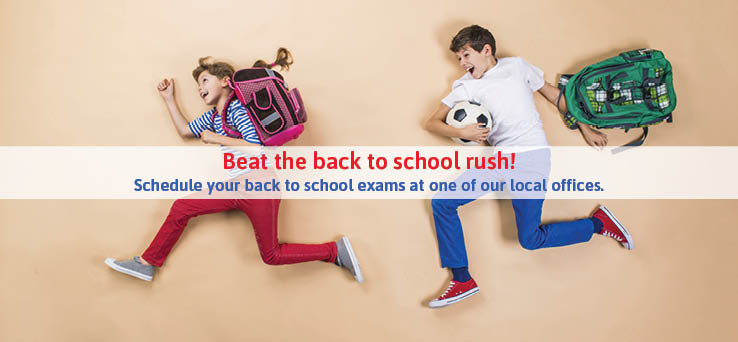 bot and girl running with backpacks, text: Beat the back to school rush!